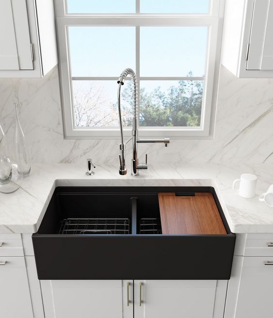 black double sink, white marble counter top, white bottom cabinet, white cabinet