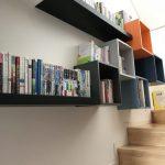 Black Floating Shelves, Floating Squares Shelves Near The Stairs