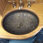 Black Metal Sink, Carvings Inside, Wooden Vanity, Blue Vanity