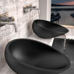Black Moder Sink, White Marble Vanity, White Marble Wall