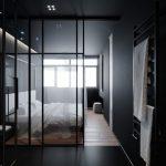 Black Wall, Black Floor, Wooden Floor, White Bed, Glass Parition