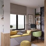 Children's Bedroom, Wooden Floor, White Shelves, Grey Bench With Yellow Cushion, Wooden Table, Green Round Chair, Blackboard