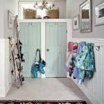 Concrete Floor, Patterned, Rack, Mint Green Doors, Rattan Basket, Chandelier, Clothes Hanger
