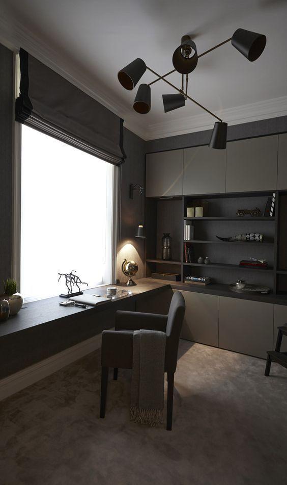 dark study, grey floor, grey cabinet, black wall, white ceiling, black modern chandelier