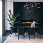 Dining Room, Black Marble Floor, Black Accent Wall, Black Wooden Table, Black Chairs, White Wall, Metal Rods Chandelier