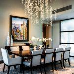 Dining Room, Dark Wooden Floor, Rug, White Chairs, Black Wooden Table, Long Chandelier
