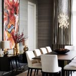 Dining Room, Dark Wooden Floor, Wooden Wall, Black Console Tbale, Dark Brown Wooden Table, White Chairs, Crystal Chandelier
