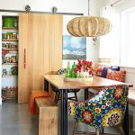 Dining Room, Grey Concrete Floor, White Wlal, White Bench With Brown Cushion, Wooden Bench, Colorful Chairs, Rattan Pendant