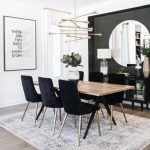 Dining Room, Wooden Floor, White Wall, Black Accent Wall, Geometrical Chandelier, Wooden Table, Black Chairs With Golden Feet