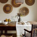 Dining Room, Wooden Floor, White Wall, Wooden Wall Decoration, Wooden Table, Wooden Chairs, Brown Pendant