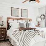 Farmhouse Bedroom, White Wooden Plank Wall, Ceiling Fan And Lamp, Brown Rug, Wooden Bed Platform, Wooden Side Cabinet, White Table Lamp