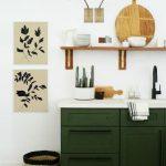 Floating Shelves, Dark Green Bottom Cabinet, White Wall, White Counter Top, Grey Floor, Red Rug, Sconces