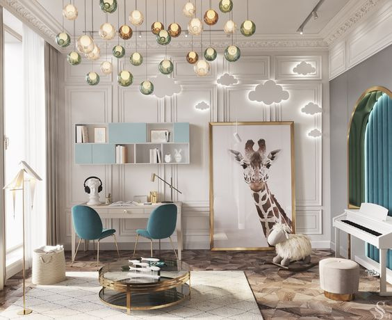 kids room, brown patterned floor, white wainscoting wall, led cloud lamp, colorful pendants, white wooden table, green chairs, shelves, white piano, round glass coffee table