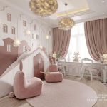 Kids Room, Wooden Floor, Pink Cream Castle Accent On The Wall, Pink Curtain, White Cabinet, White Chairs, Pink Chairs