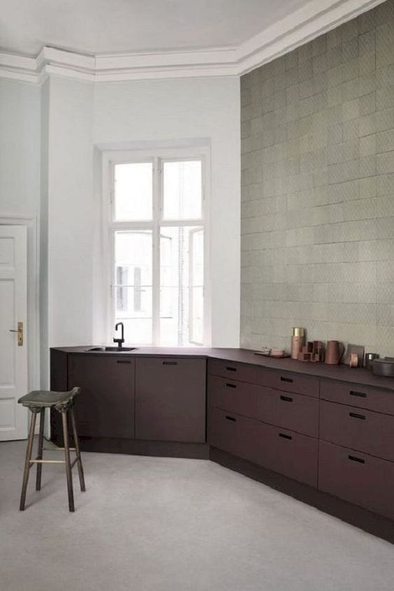 kitchen, grey seamless floor, white wall, square wall tiles, dark purple bottom cabinet with matching counter top