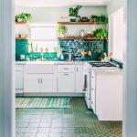 Kitchen, White Cabinet, White Wall, Dark Green Backsplash, Floating Wooden Shelves