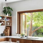 Kitchen, Wooden Bottom Cabinet, White Wall Tiles, Wooden Framed, Glass Sliding Window, White Island, Floating Shelves