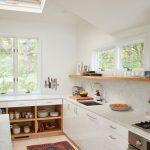 Kitchen, Wooden Floor, White Bottom Cabinet, White Wall, Wooden Floating Shelves, Windows