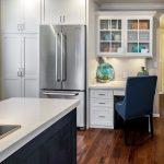 Kitchen, Wooden Floor, White Cabinet, Black Island, White Counter Top, White Study Table, White Shelves