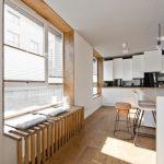 Kitchen, Wooden Floor, White Cabinet, Black Wall, White Island, Wooden Grid Window Seat