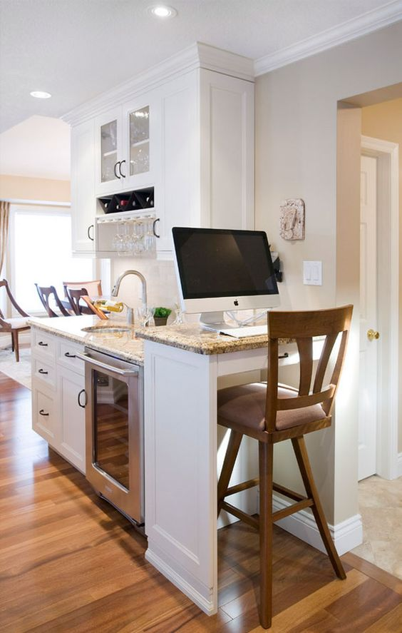kitchen, wooden floor, white wall, white cabinet, marble counter top, wooden stools