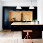 Kitchen, Wooden Floor, White Wall, White Pendant, Black Cabinet, Black Island, Wooden Stool