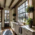 Kitchen, Wooden Floor, White Wooden Ceiling, Wooden Beams, White Bottom Cabinet, Glass Window, Brown Curtain