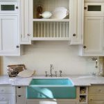 Light Blue Sink, Undermounted, White Marble Counter Top, White Subway Backsplash, White Cabinet, Black Marble Counter