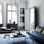 Living Room, Blue Rug, Blue Modern Bench, Grey Wall, Blue Leather Bench, Black Coffee Table