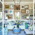Living Room, Brown Rug, Blue Green Sofa, Blue Patterned Chairs, Paintings,cream Wall, Classic Pendant