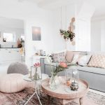 Living Room, Pink Rug, White Wall, Grey Sofa, Wooden Tray Coffee Table, Pink Ottoman