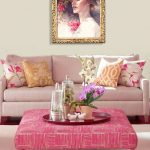 Living Room, White Rug, White Wall, Soft Pink Sofa, Neon Pink Square Ottoman