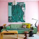 Living Room, Wooden Floor, Pink Wall, Green Sofa, Wooden Coffee Table, Bulbs Chandelier