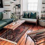 Living Room, Wooden Floor, White Wall, Green Sofa, Wooden Sofa With Light Green Cushion, Wooden Coffee Table, Rattan Chair, White Shelves