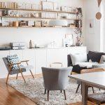 Living Room, Wooden Floor, White Wall, White Bottom Cabinet, Floating Shelves, Grey Chairs, Black Sofa