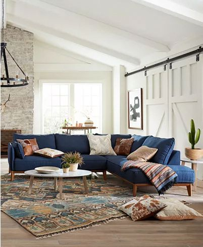 living room, wooden floor, white wall, white vaulted ceiling, pattern rug, blue corner sofa, round coffee table