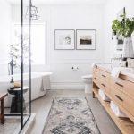 Long Bathroom, Cream Floor, White Wall, White Tub, Light Wooden Cabinet, Marble