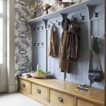 Mudroom, Cream Floor Tiles, Wallpaper, Blue Wooden Board, Shelves On Top, Wooden Cabinet, Pendant