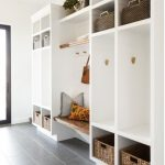 Mudroom, White Cupboard With Shelves, Rattan Basket, Hookd, Floating Bench, White Wall