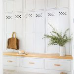 Mudroom, White Stone Floor, White Cupboard, White Drawers, Wooden Bench