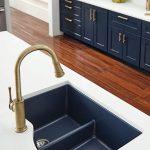 Navy Undermounted Sink, White Counter Top, Navy Bottom Cabinet, White Upper Cabinet, Wooden Floor, Golden Faucet