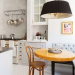 Nook, Patterned Floor, Yellowish Wooden Round Table, Tufted Cushion, Black Pendant
