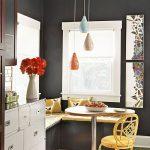 Nook, Wooden Floor, Black Wall, Black Bench, Yellow Cushion, Exotic Pendants, White Framed Window