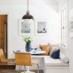 Nook, Wooden Floor, White Wall, White Bench, Rattan Chairs, White Pendant