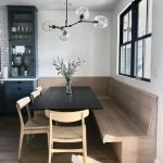 Nook, Wooden Floor, Wooden Bench, Black Wooden Table, Wooden Chairs, Glass Pendant, White Wall, Glass Window