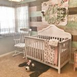 Nursery, Brown Rug, White Crib, Grey Wall, Colorful Wall, Rustic Pendant, White Rocking Chair
