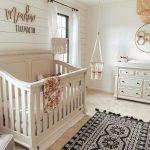 Nursery, Cream Rug, Black Rug, White Shiplap, Cream Crib, Cream Cabinet, Macrame Swing, Rattan Pendant