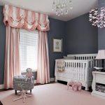 Nursery, Grey Wall, Wooden Floor, Pink Rug, Pink Curtain, Crystal Chandelier, White Table