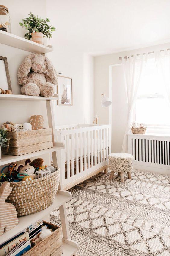 nursery, white wall, off shite rug, white ruf, wooden rack, white curtain