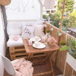 Patio, Wooden Floor, White Wall, Wooden Table, Wooden Bench, White Modern Chair, White Luncheons, Rattan Fence